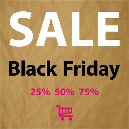 markdown: SALE Black Friday symbol black white pink on a brown background crumpled paper Illustration
