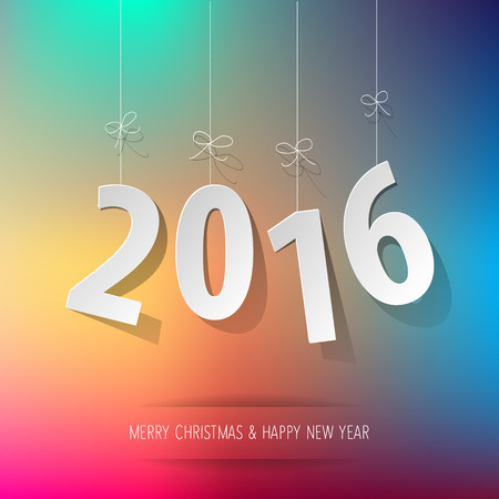 event party festive: Paper digits 2016 on a rainbow bokeh background.