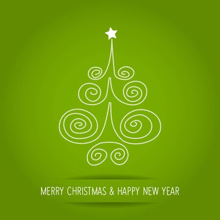 Christmas Tree dots on a green background. Illustration