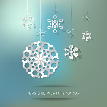 Christmas paper snowflakes on a turquoise background. Illustration
