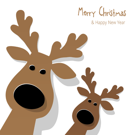 cute animals: Christmas Reindeer brown on a white background.