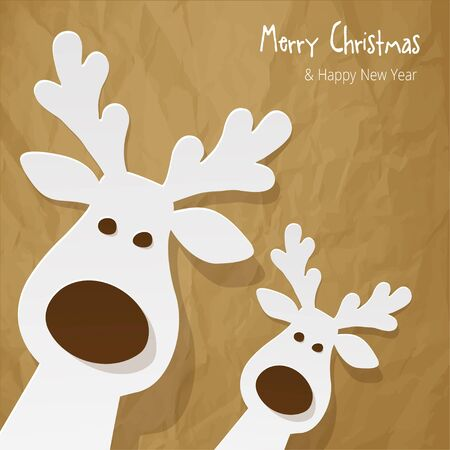 sylvester: Christmas Reindeer on a crumpled paper brown background.
