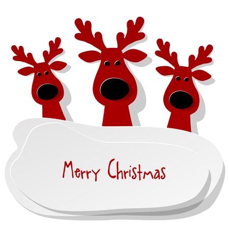 renos de navidad: Tres del reno de Navidad rojo sobre un fondo blanco.