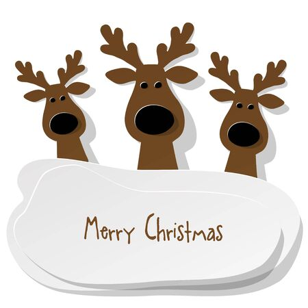 Three Christmas Reindeer brown on a white background. Illustration
