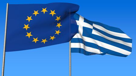 disrepair: Flags of European Community and Greece on the blue sky background.