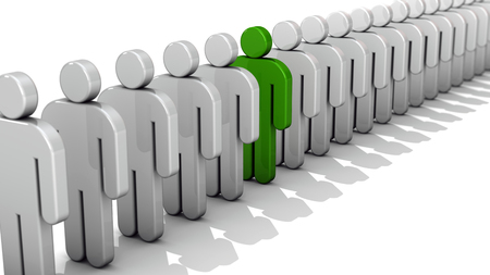 uniqueness: Abstract difference and individuality, uniqueness and Leadership business concept, single green 3D people figure in row of white figures isolated on white background with depth of field focus effect
