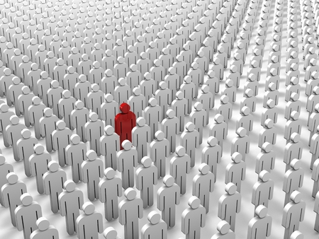 Abstract individuality, uniqueness and Leadership business concept: single red 3D people figure in crowded group of white figures