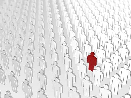 uniqueness: Abstract individuality, uniqueness and Leadership business concept: single red 3D people figure in crowded group of white figures with depth of field focus effect