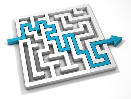 Labyrinth maze 3d blue turquoise Stok Fotoğraf