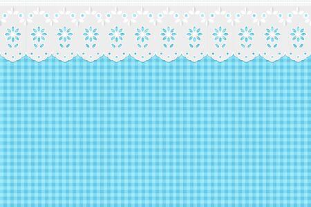 openwork: Openwork curtain on blue checkered pattern background.