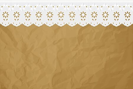 curtain design: Openwork embroidery curtain on a crumpled paper brown background. Illustration