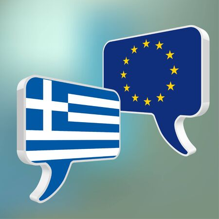 disrepair: Flags of the European Union and Greece as speech bubble on a blue bokeh background. Illustration