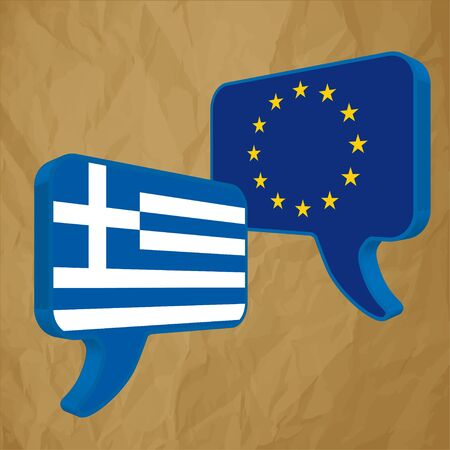 european economic community: Flags of the European Union and Greece on a crumpled paper brown background.