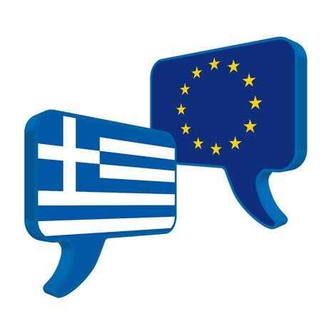 disrepair: Flags of European Community and Greece as speech bubble on a white background.