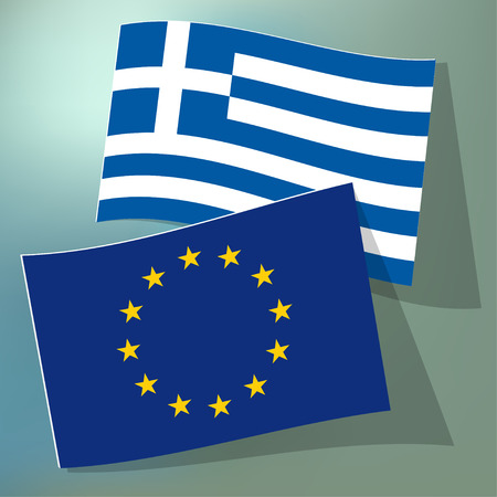 the european economic community: Flags of the European Union and Greece on a blue bokeh background.