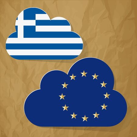 disrepair: Flags of the European Union and Greece as clouds on a crumpled paper brown background. Illustration