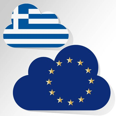 disrepair: Flags of the European Union and Greece as clouds on a white background.