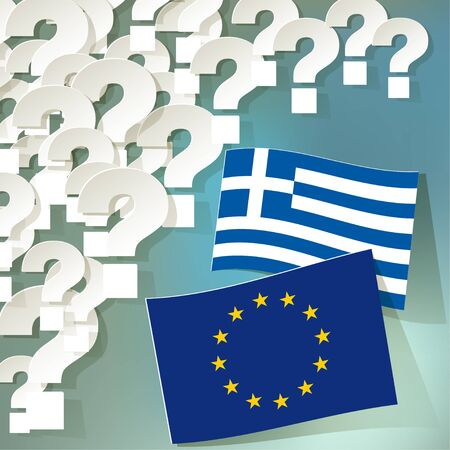 european economic community: Flags of the European Union and Greece on a blue bokeh background with question marks. Illustration