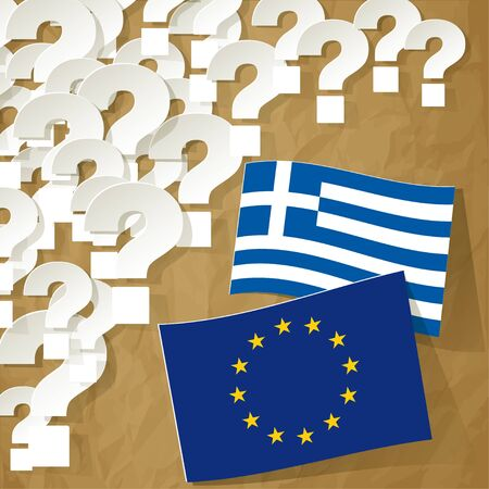 disrepair: Flags of the European Union and Greece on a crumpled paper brown background with question marks. Illustration