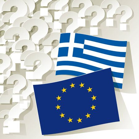disrepair: Flags of the European Union and Greece with question marks.