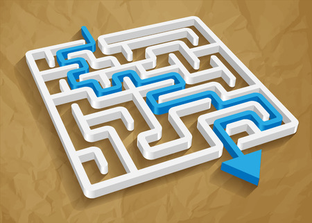 search solution: maze labyrinth 3d blue vector round on a crumpled paper brown background.