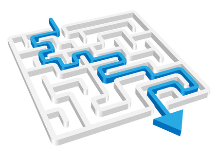 maze puzzle: maze labyrinth 3d blue vector round on a white background. Illustration
