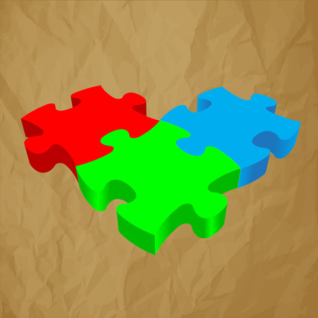 trichromatic: RGB PUZZLE 3D vector crumpled paper on a brown background. Illustration