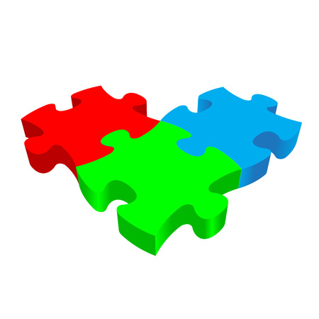 trichromatic: RGB PUZZLE 3D vector on a white background. Illustration