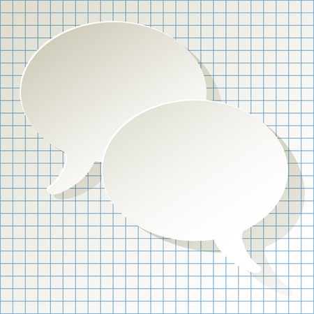 chat speech bubbles vector white ellipse on a checkered paper background