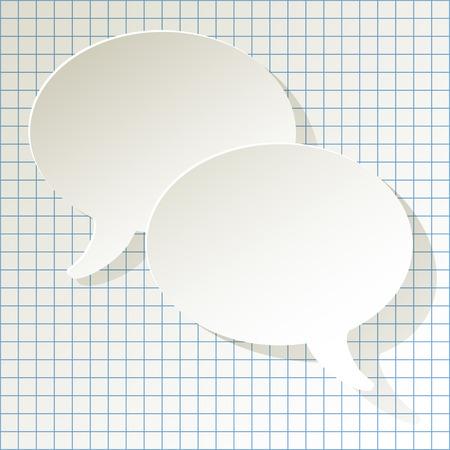 chat-tekstballonnen vector wit ellips op een geruite papier achtergrond Stock Illustratie