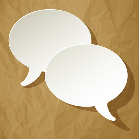 pronunciation: chat speech bubbles vector white ellipse on a crumpled paper brown background