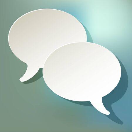 pronunciation: chat speech bubbles vector ellipse white on a blue bokeh background