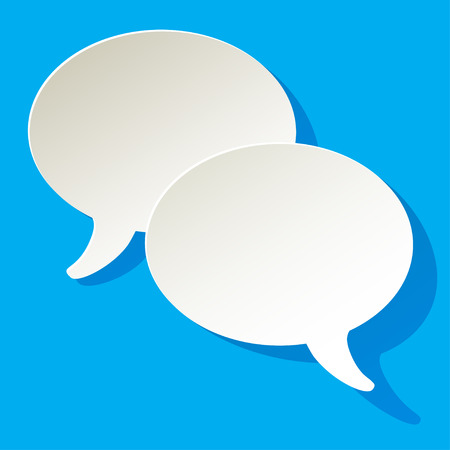 pronunciation: chat speech bubbles vector ellipse white on a blue background Illustration