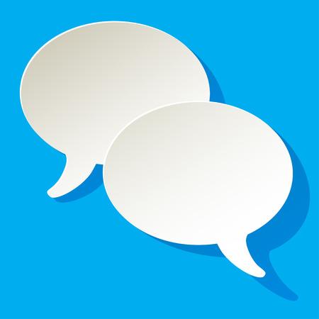 chat-tekstballonnen vector ellips witte letters op een blauwe achtergrond Stock Illustratie