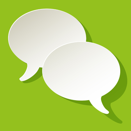 pronunciation: chat speech bubbles vector ellipse white on a green background