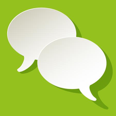 Chat-Sprechblasen Vektor-Ellipse weiß auf grünem Hintergrund Vektorgrafik