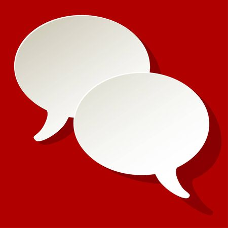 ellipse: chat speech bubbles vector ellipse white on a red background Illustration