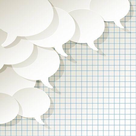 vorschlag: Chat-Sprechblasen Vektor weiße Ellipse in der Ecke auf einem karierten Papier Hintergrund