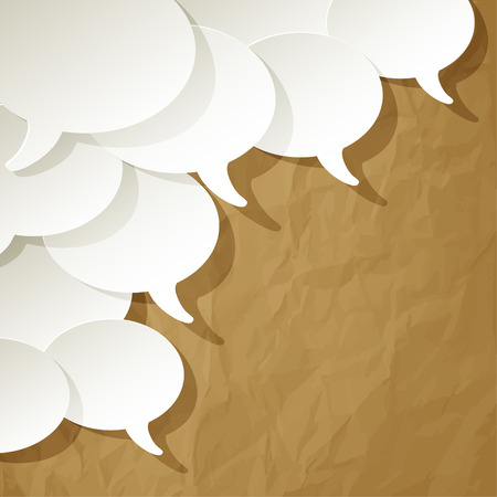 chat speech bubbles vector white ellipse in the corner on a crumpled paper brown background Illustration