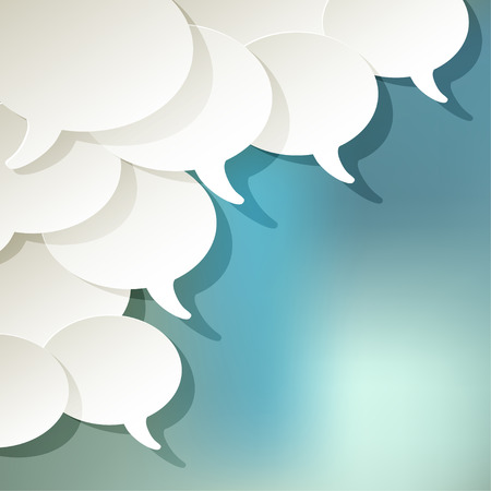 chat speech bubbles vector white ellipse in the corner on a blue bokeh background