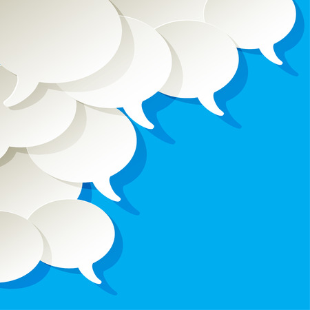 customer survey: chat speech bubbles vector white ellipse in the corner on a blue background