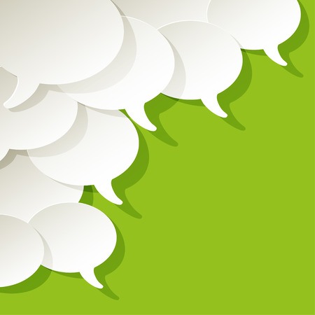 chat speech bubbles vector white ellipse in the corner on a green background