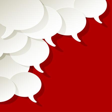 chat-tekstballonnen vector wit ellips in de hoek op een rode achtergrond