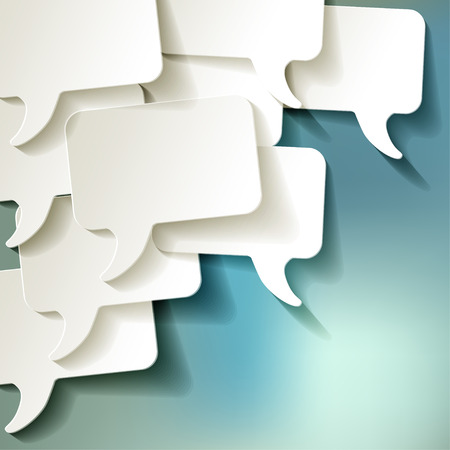 discussion forum: chat speech bubbles vector white on a blue bokeh background