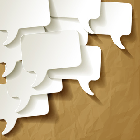 pronunciation: chat speech bubbles vector white on crumpled paper brown background