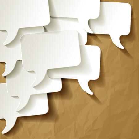 chat-tekstballonnen vector wit op verfrommeld papier bruine achtergrond Stock Illustratie