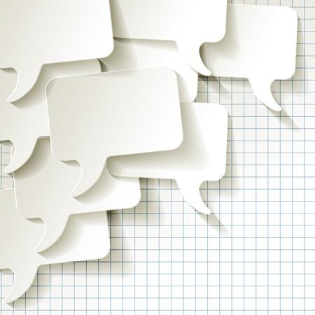 chat-tekstballonnen vector wit geruit patroon op de achtergrond