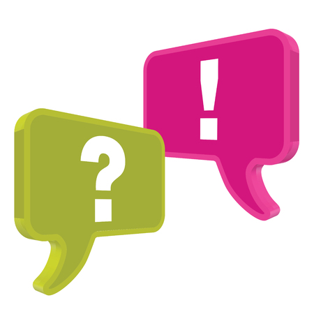 pronunciation: Speech bubbles in perspective colorful question exclamation mark Illustration