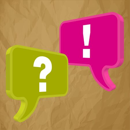 pronunciation: Speech bubbles in perspective colorful question exclamation mark on a crumpled paper brown background