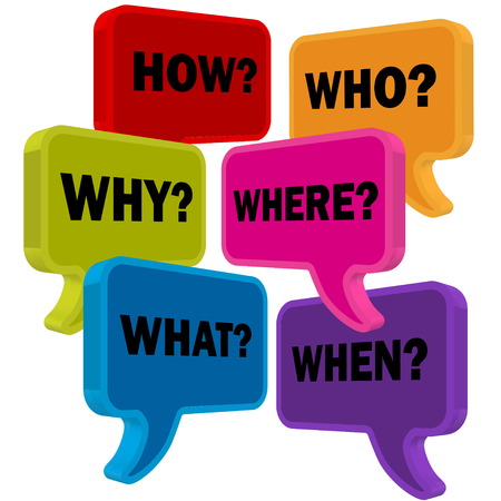 Speech bubbles in perspective colorful question HOW WHO WHAT WHY WHERE WHEN